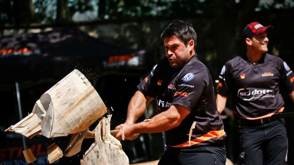Peter Bauer of Germany performs at the standing block chop during the Amarok Cup / STIHL TIMBERSPORTS® Series in Dinslaken, Germany on July 18th, 2015.